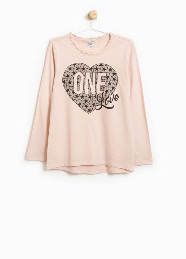 T-shirt in 100% cotton with glitter print | OVS