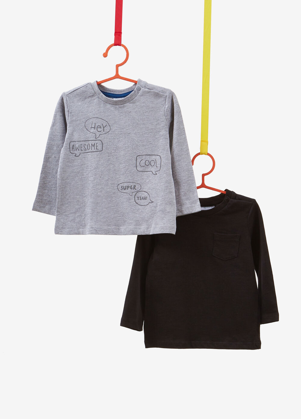 Two-pack cotton T-shirts with print and pocket