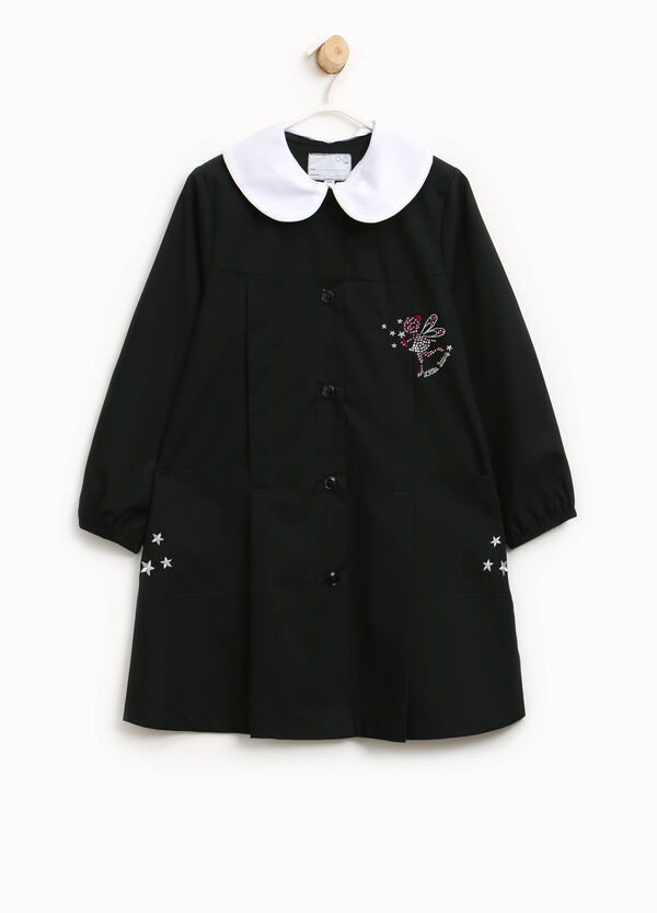 Cotton blend smock with diamantés and embroidery | OVS