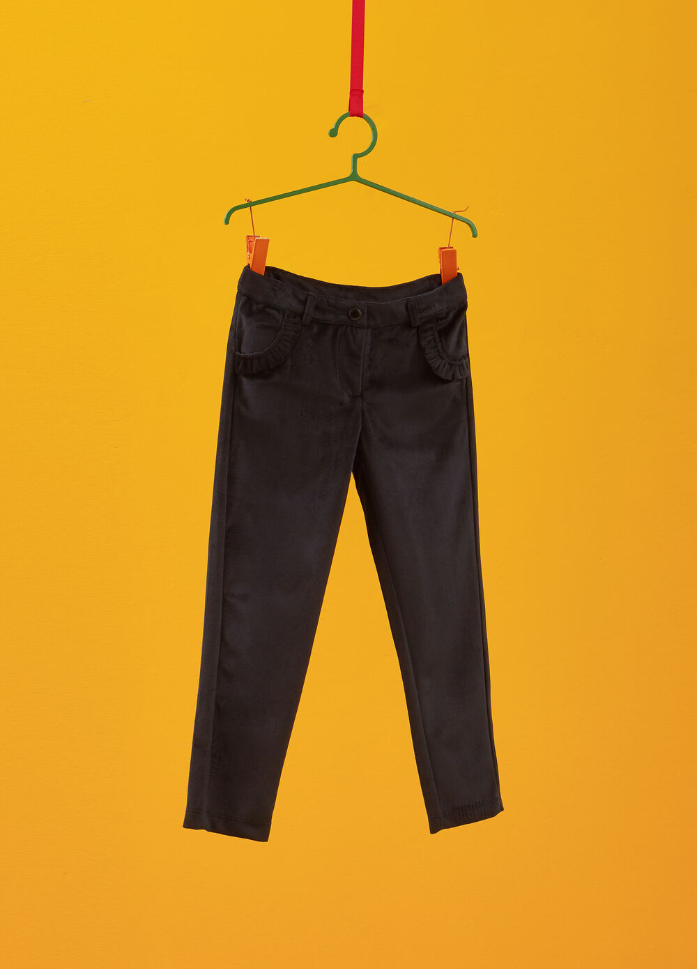 Chenille trousers with flounce
