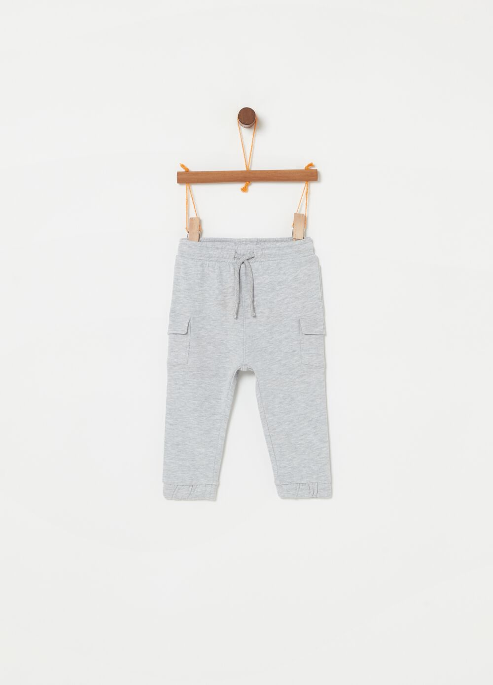 Mélange jogger trousers with pockets