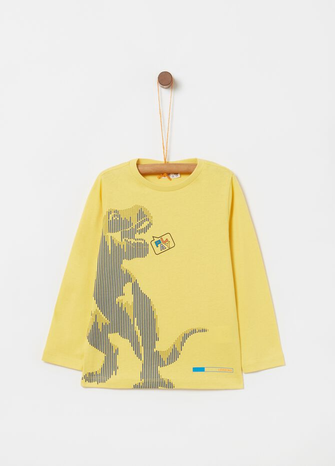 Long-sleeved cotton T-shirt with dinosaur print