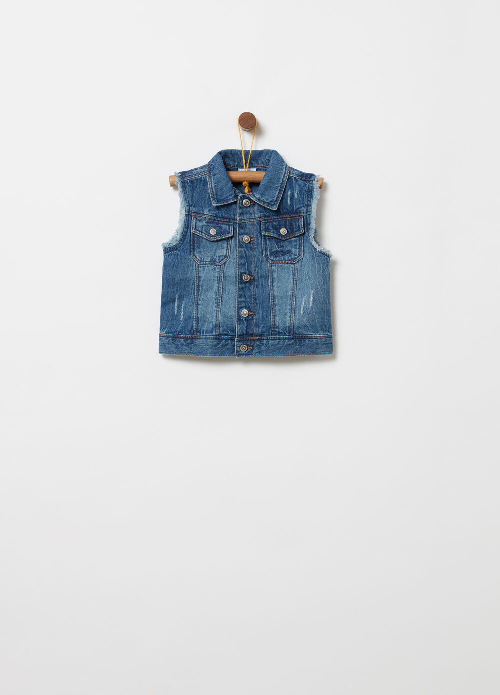 Vintage-effect denim gilet with fringing