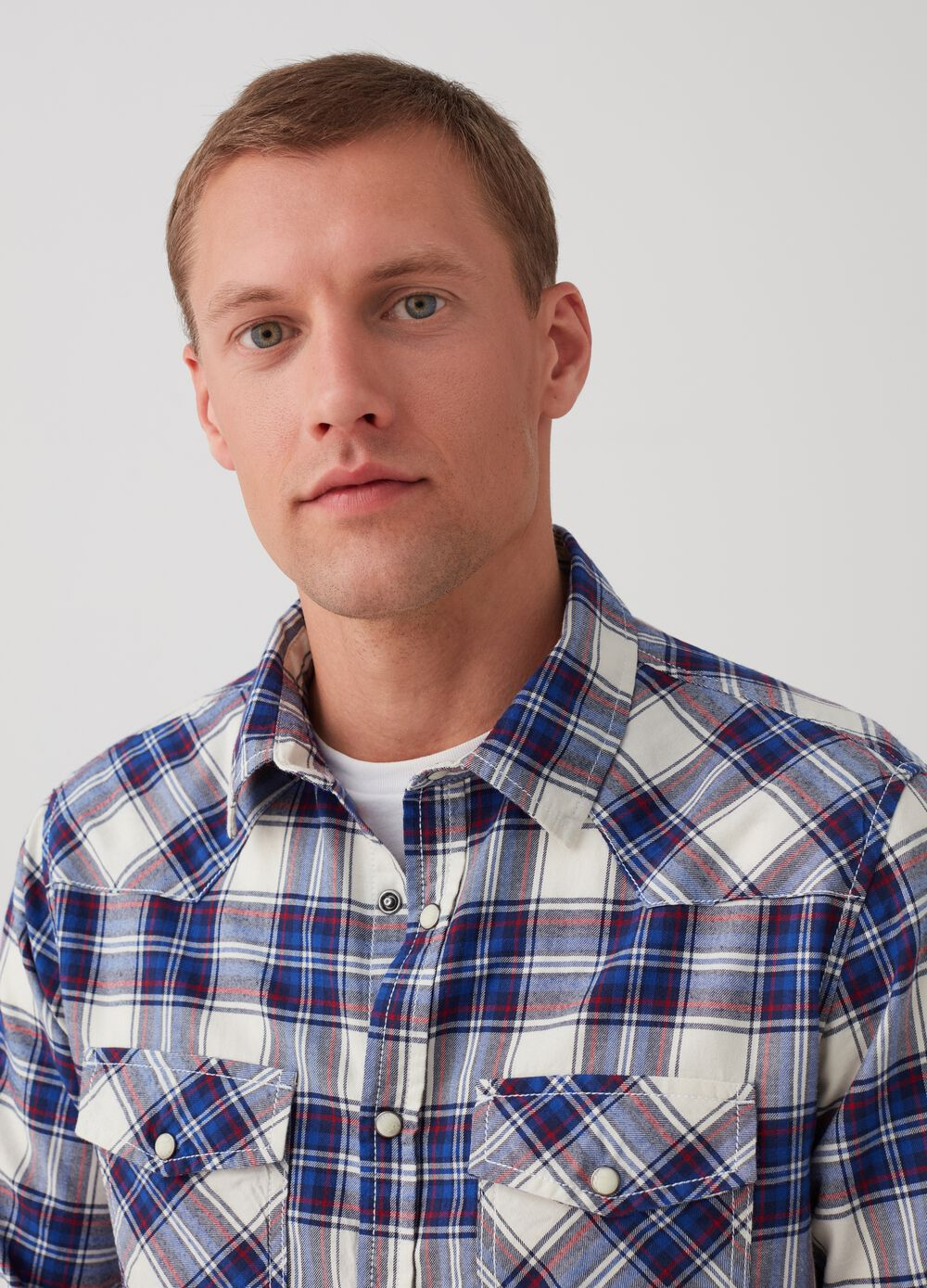 Slim-fit shirt with check pockets