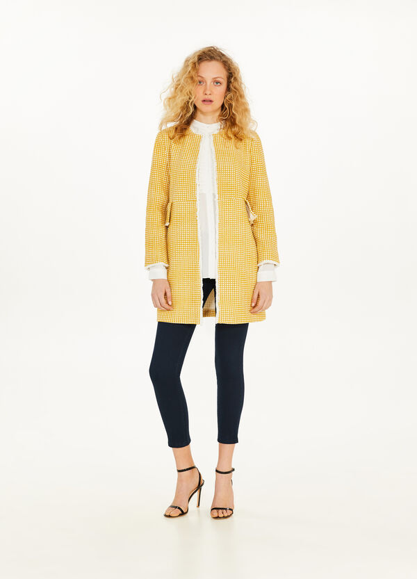 Check coat with flounce