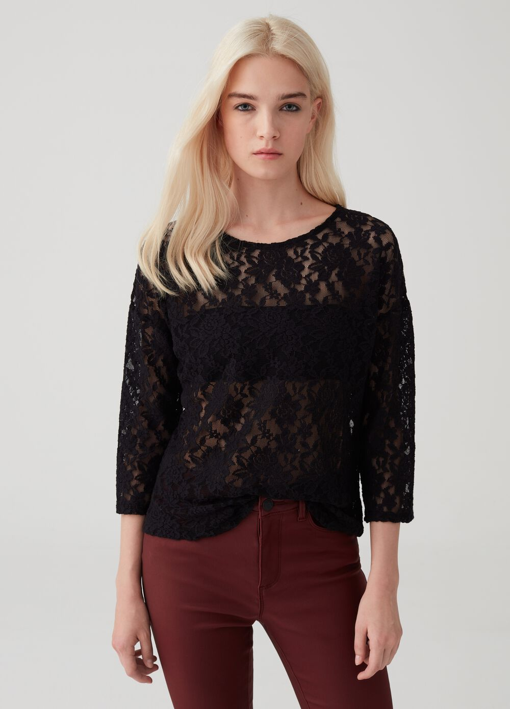 Lace top with three-quarter sleeves