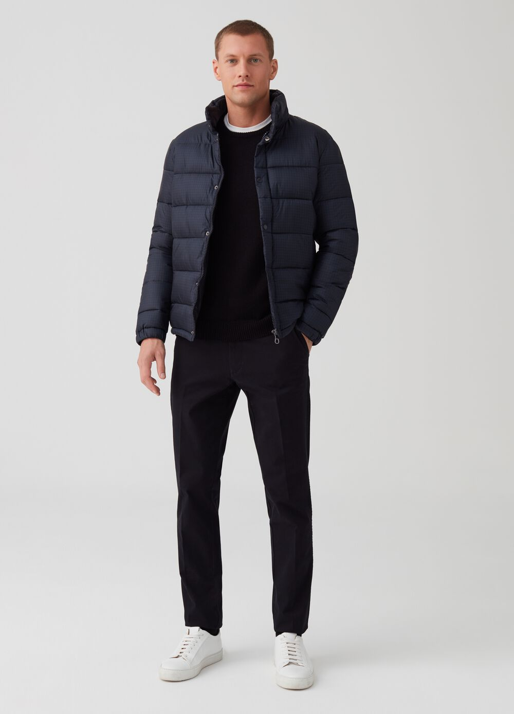 Rumford down jacket with hounds' tooth print