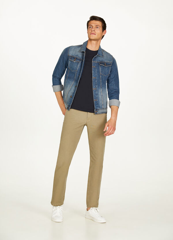 Solid colour regular-fit cotton trousers