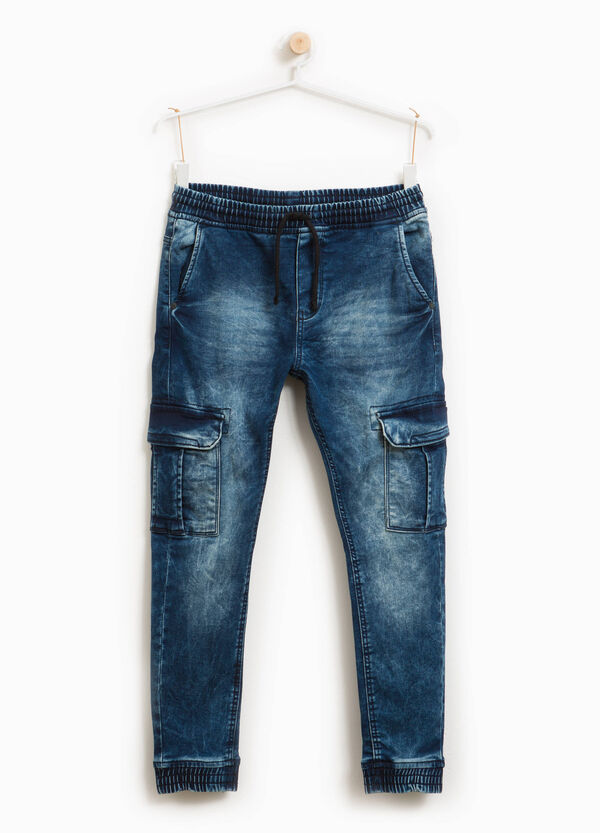 Used-effect cargo jeans with drawstring | OVS