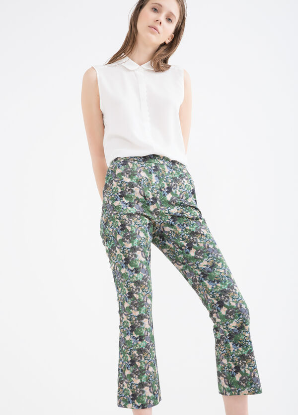 Printed stretch cotton trousers   OVS