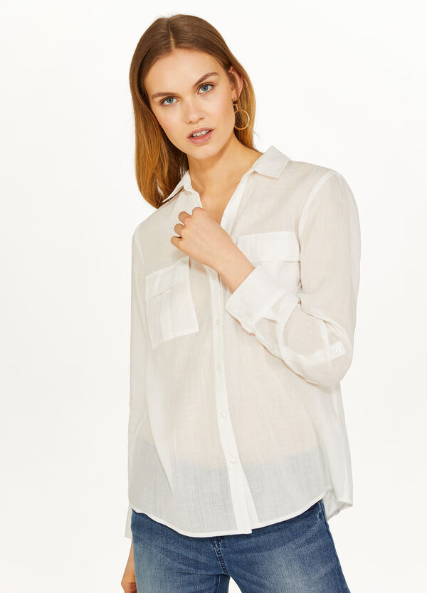 Solid colour cotton and ramie shirt