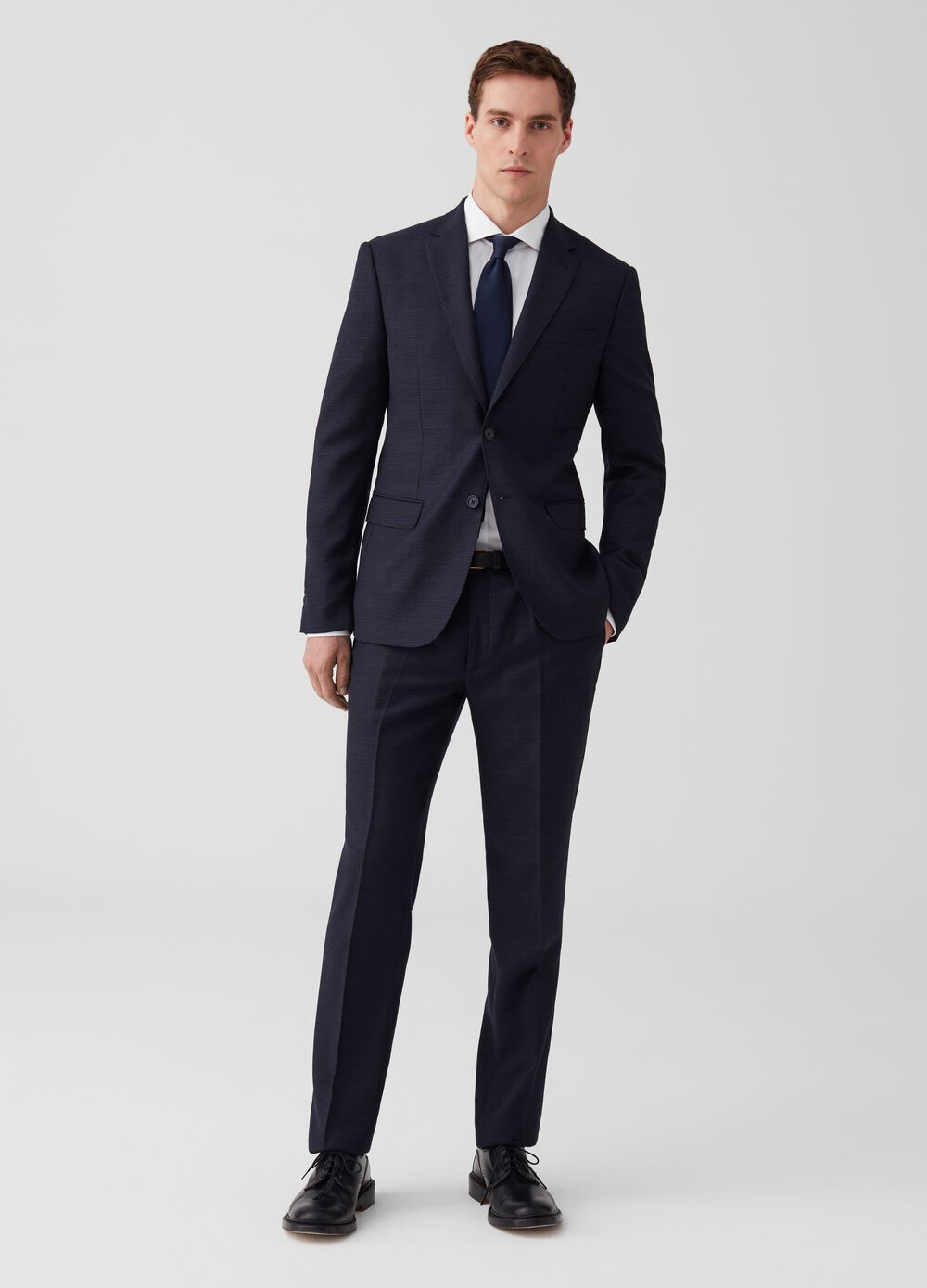 Regular-fit suit in 100% wool with pattern