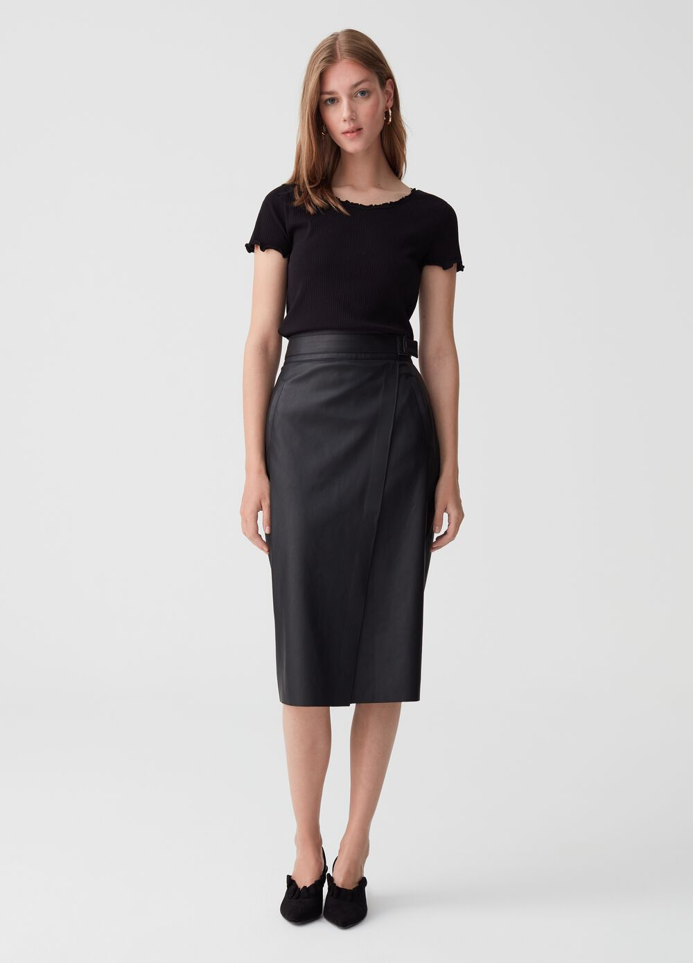 Leather-look wraparound skirt with belt
