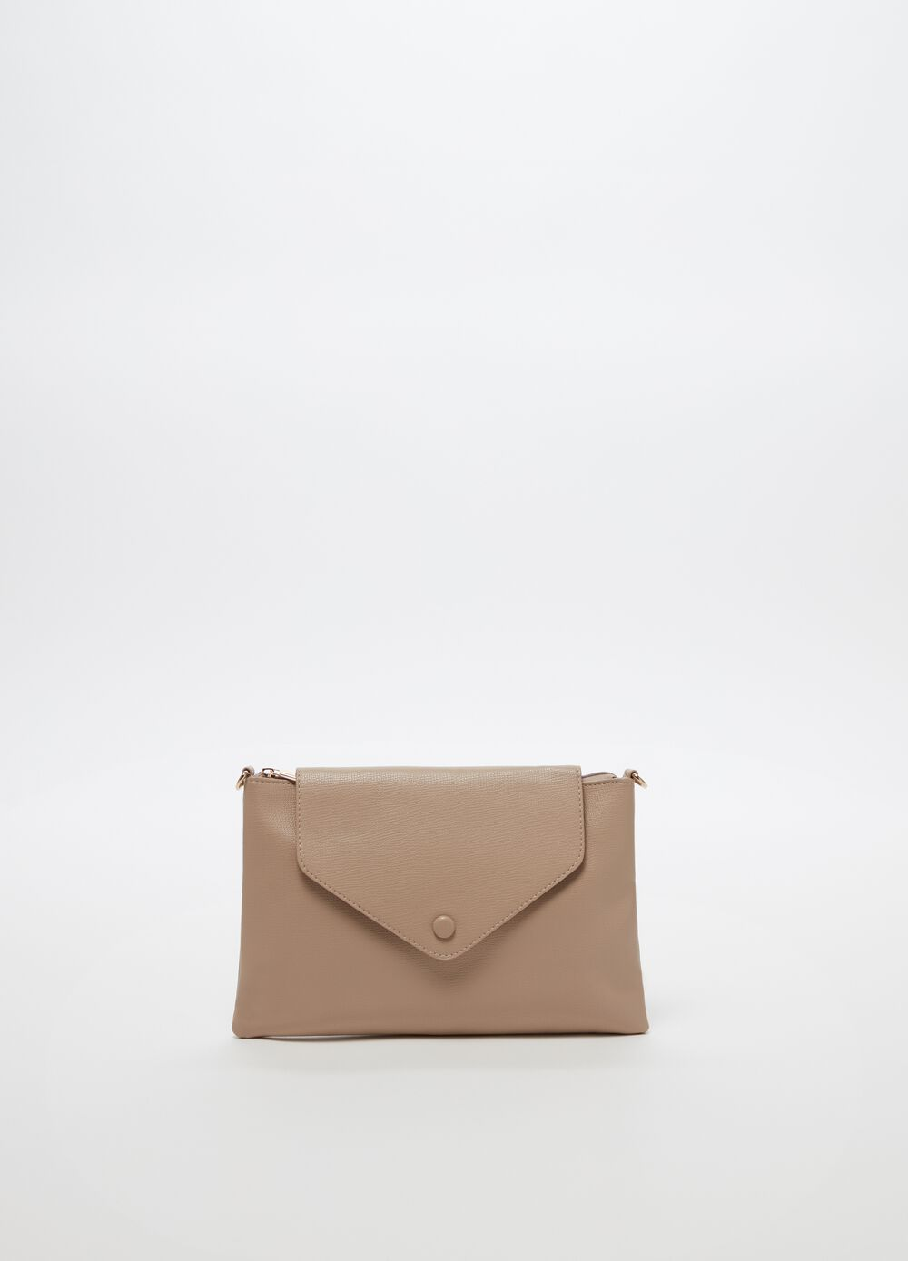 Clutch bag with shoulder strap, flap and zip