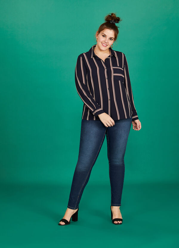 Curvy skinny-fit washed-effect stretch jeans