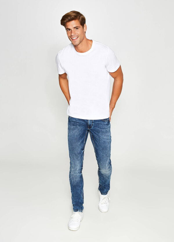 Mis-dyed effect skinny-fit jeans