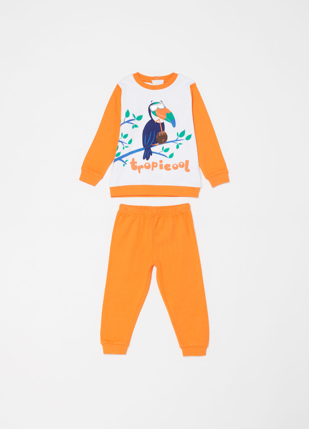 Heavy sleepsuit with woodpecker motif print