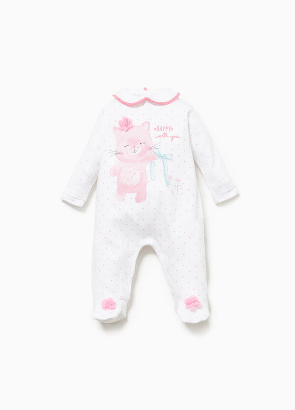 Polka dot onesie in 100% cotton with print