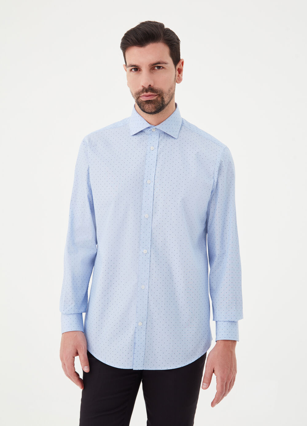 Micro-patterned twill shirt with print