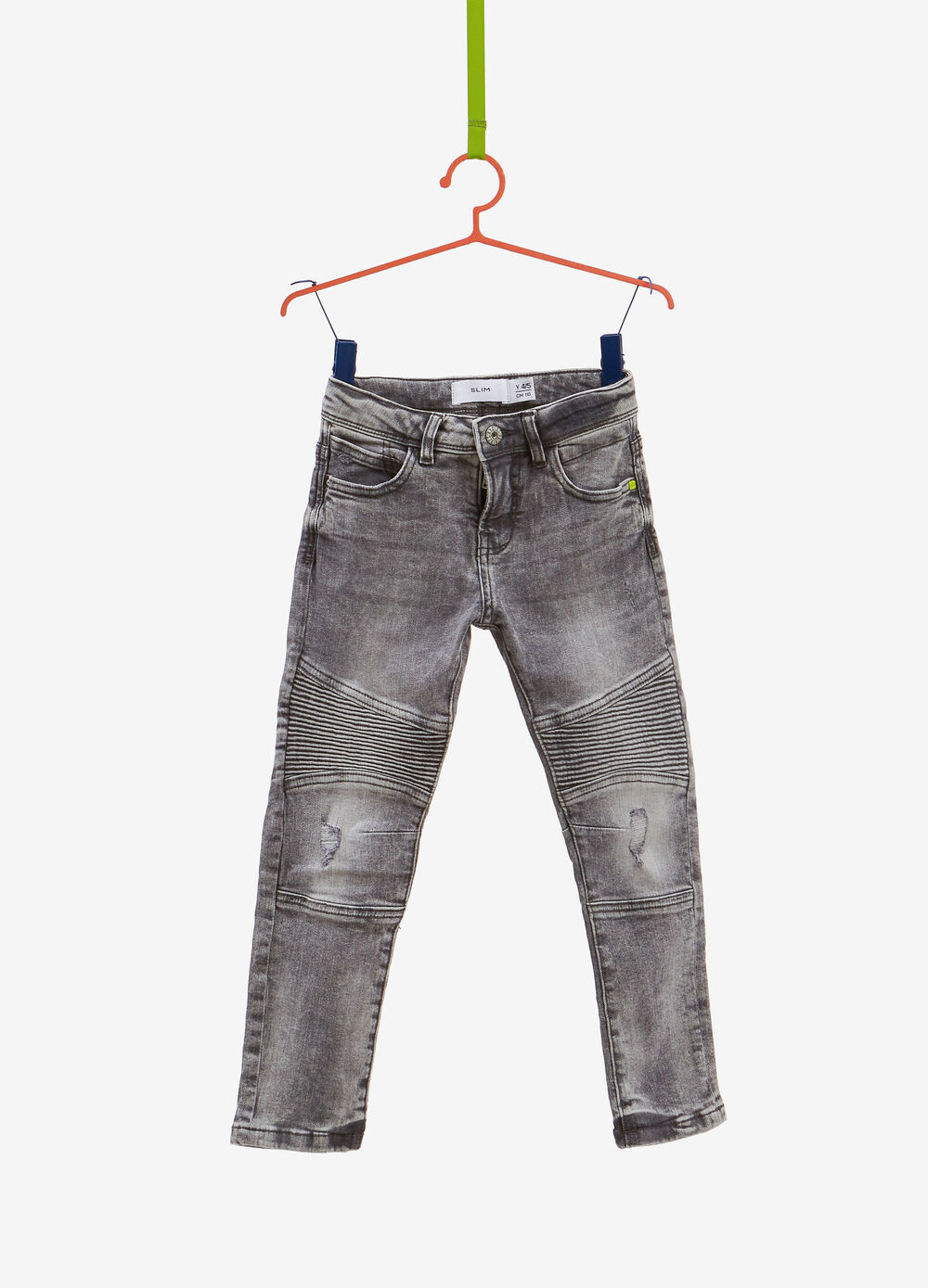 Slim-fit faded stretch jeans with stitching