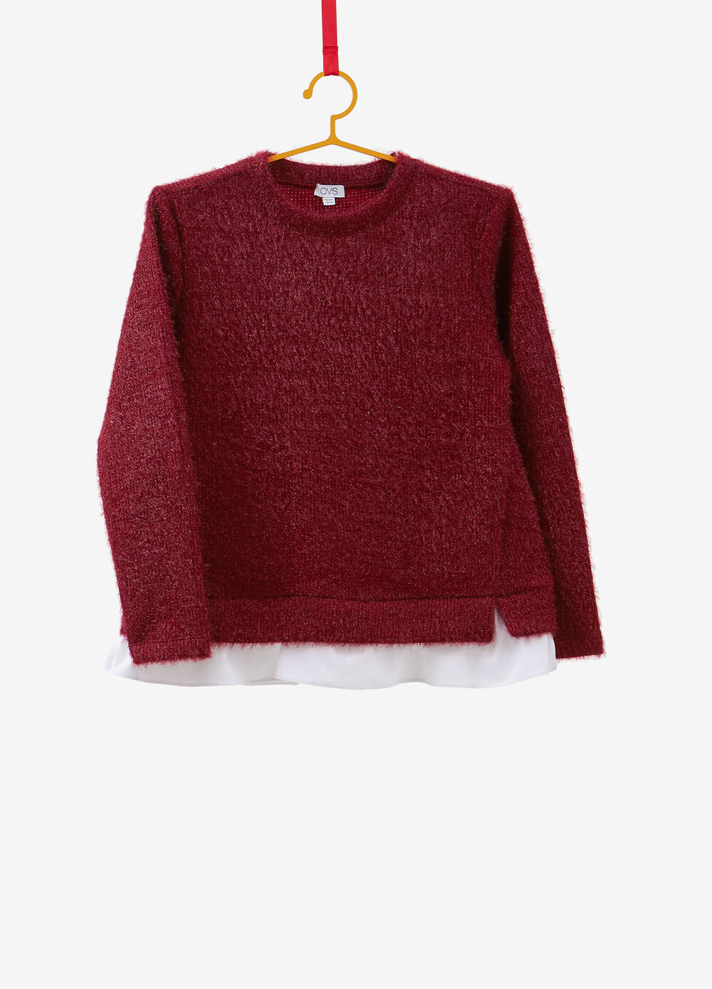 Solid colour knitted pullover with faux layering