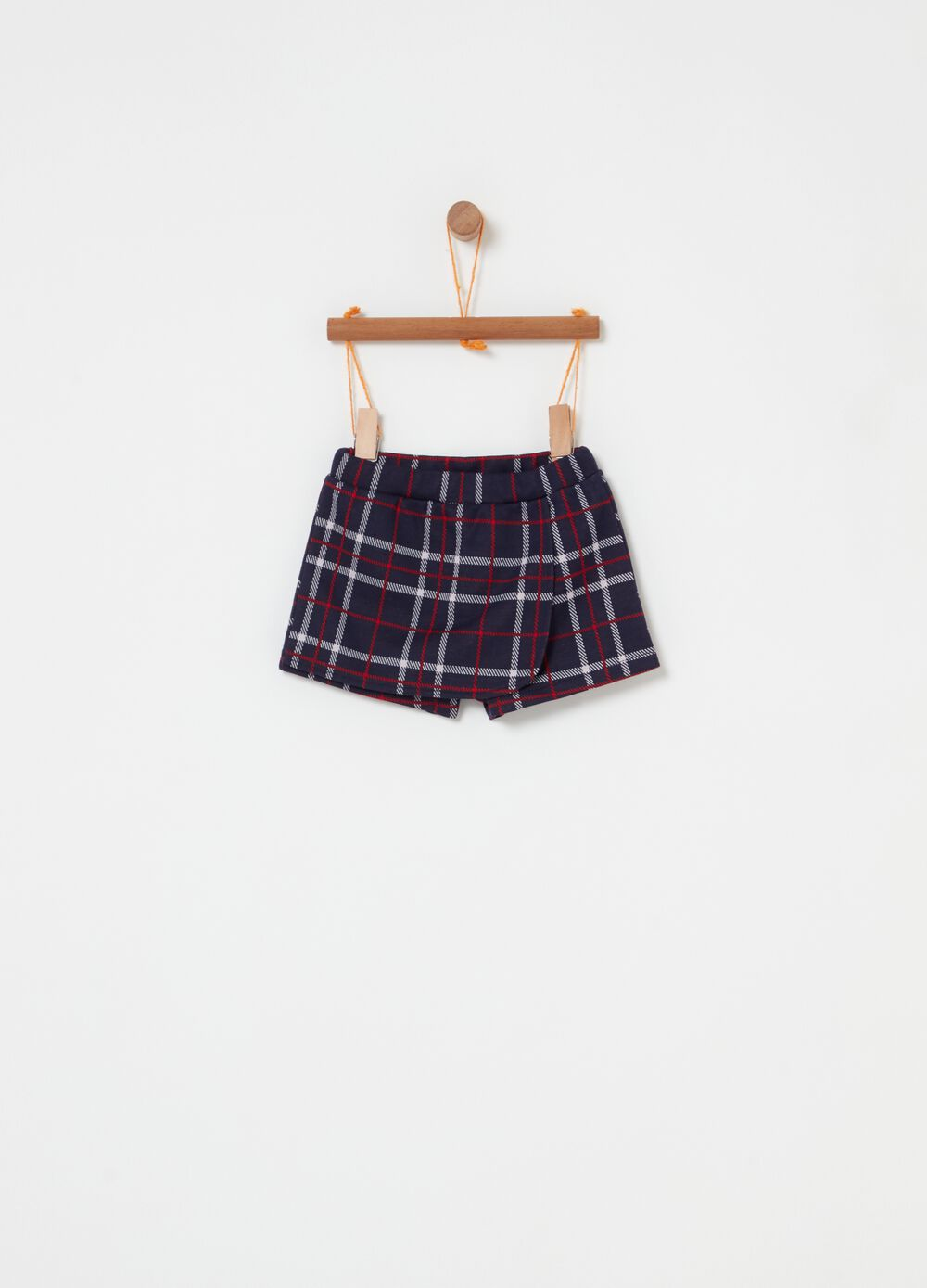Wraparound skirt with check pattern