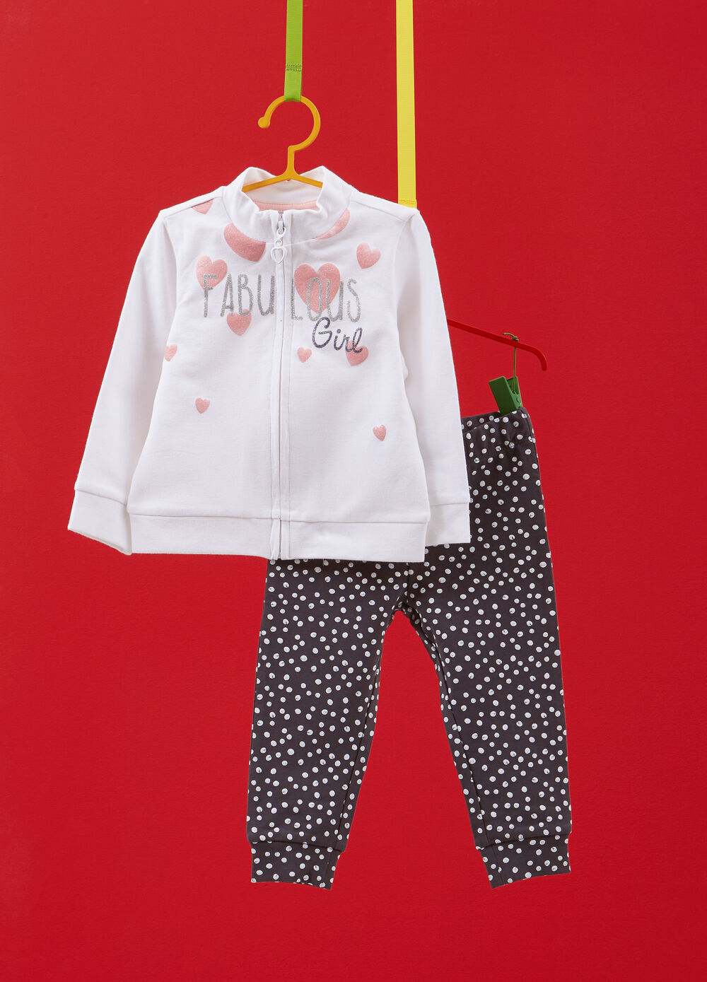 Tracksuit in stretch cotton with glitter heart polka dots