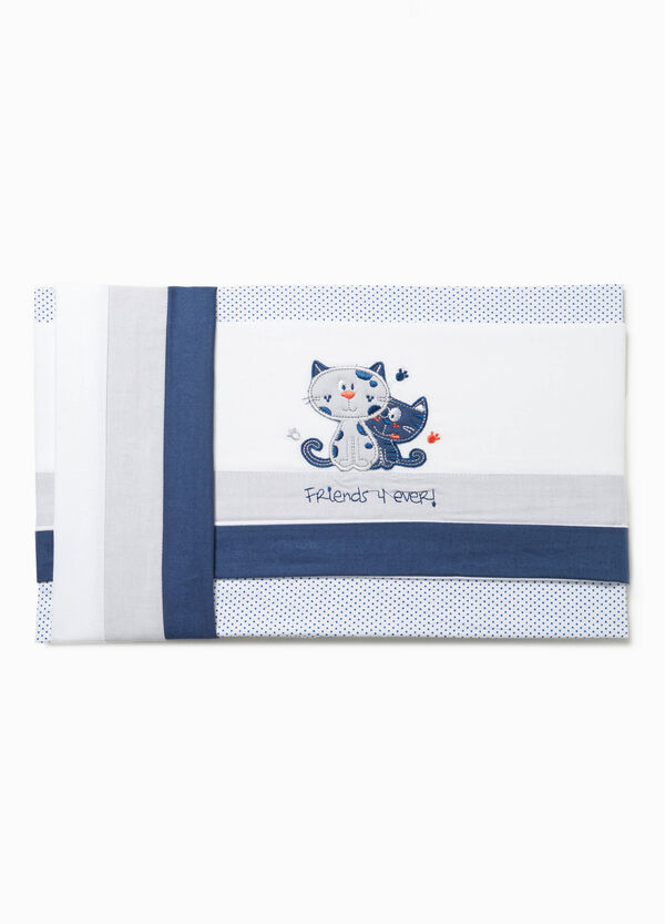 Cotton crib sheet with kittens | OVS