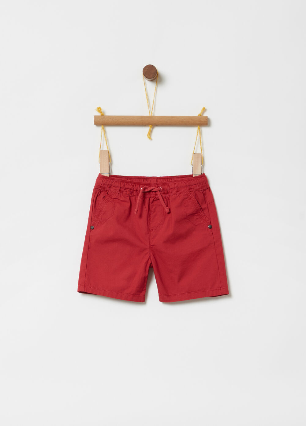 Poplin shorts with pockets and drawstring