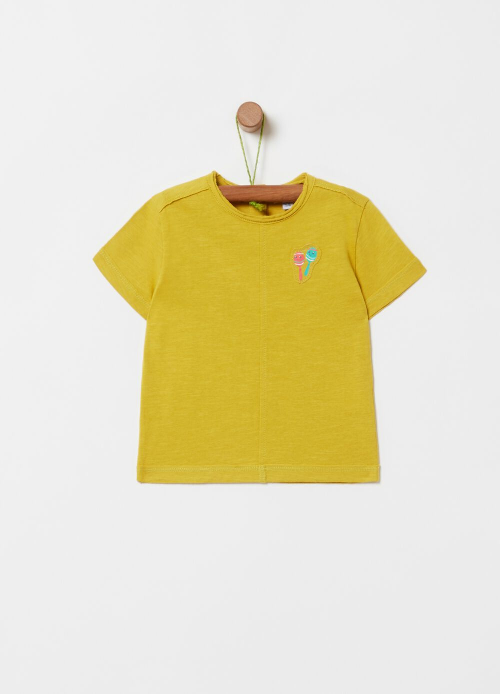100% organic cotton T-shirt with maracas patch