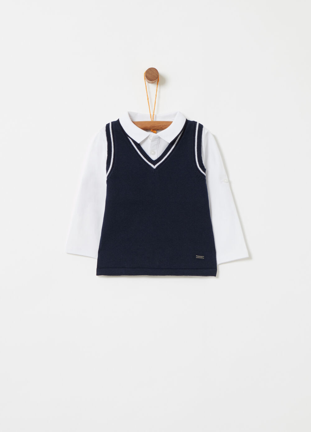 Long-sleeved polo shirt with gilet and ribbing