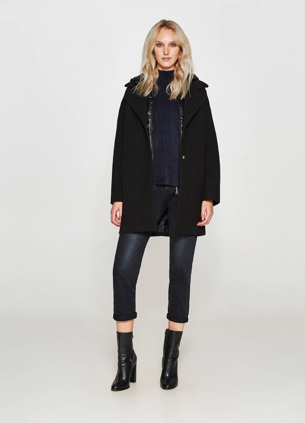 Wool and viscose blend coat with lapels | OVS