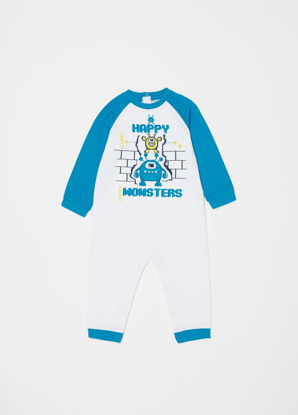 Biocotton sleepsuit with monsters print