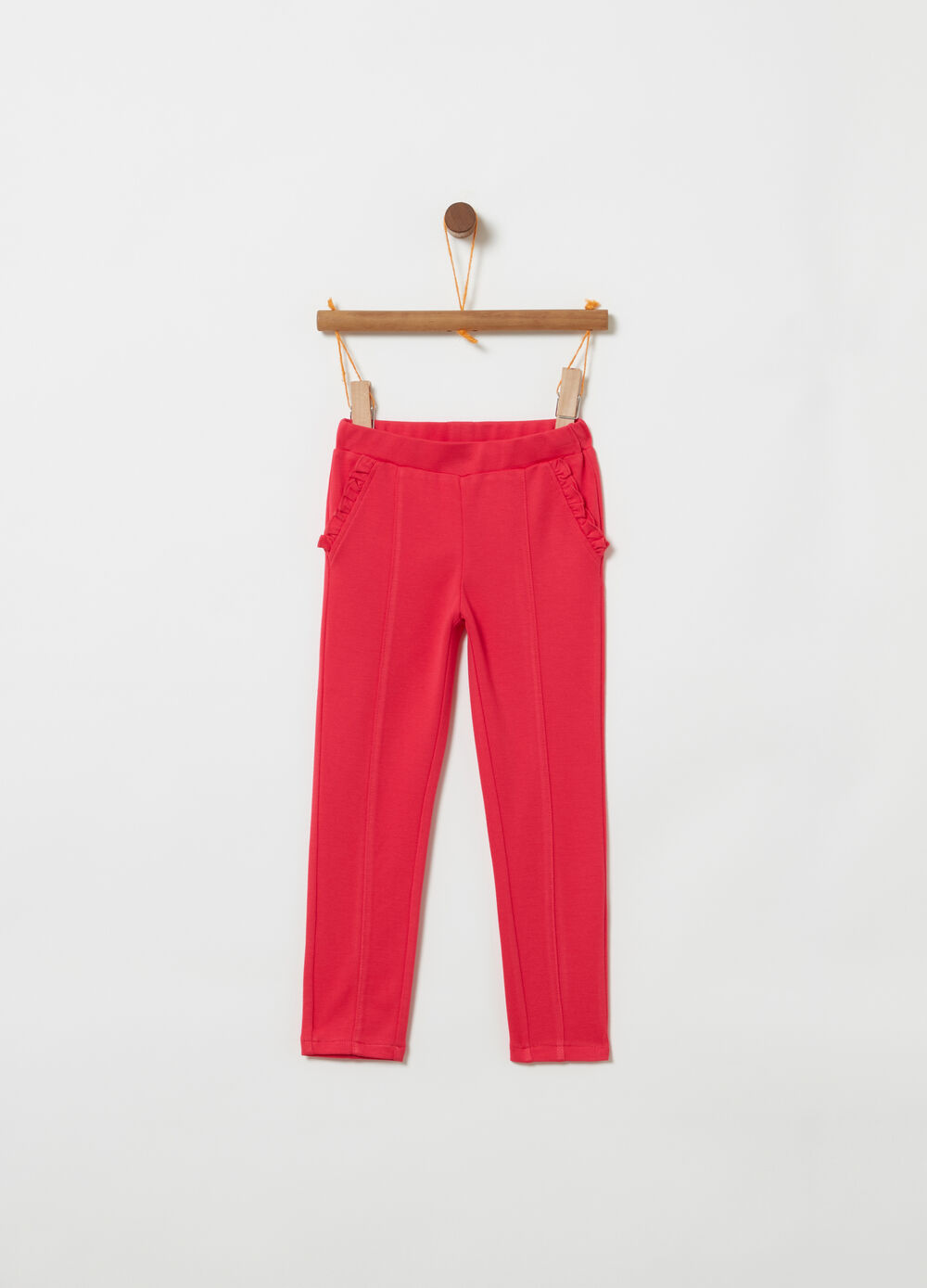 Piquet trousers with elastic waistband and frills