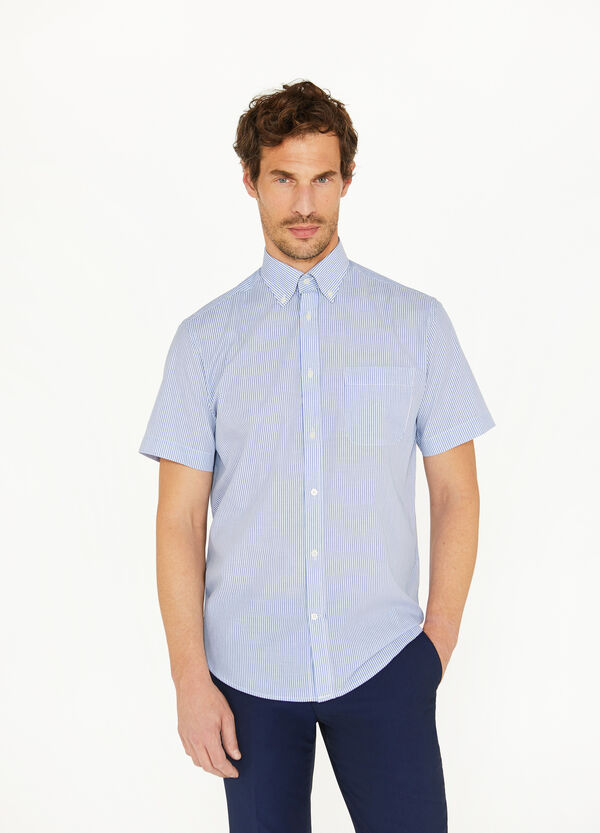 Regular-fit casual micro-striped shirt