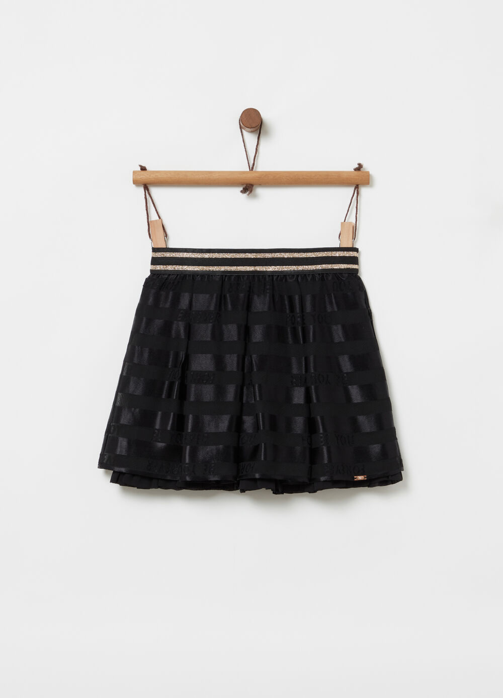 Devoré shorts skirt with glitter-effect waist band