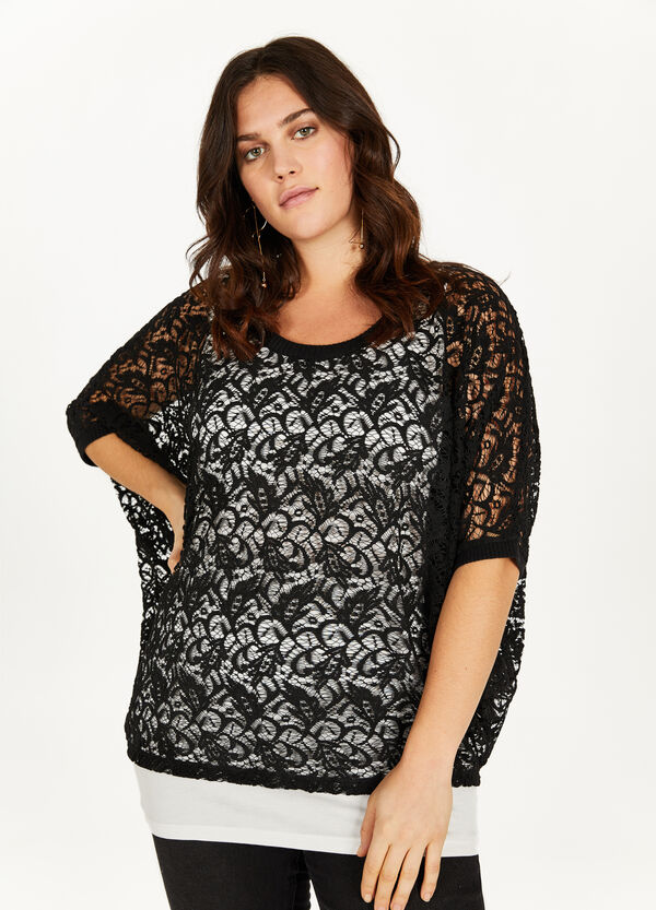 Curvy lace blouse with inside top