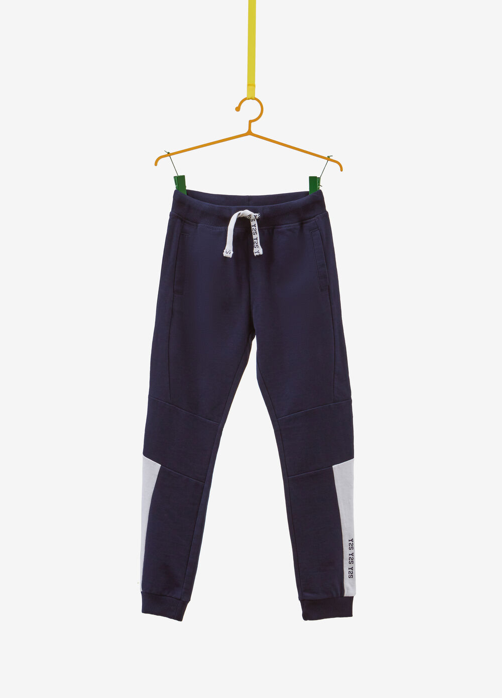 Trousers in cotton with inserts and print