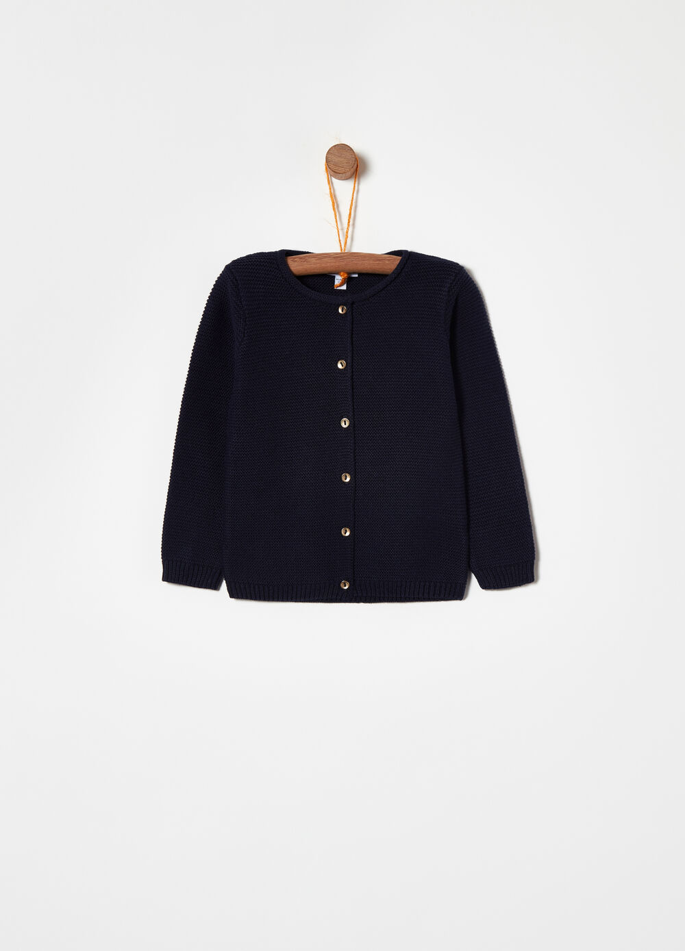 100% cotton cardigan with bronze buttons