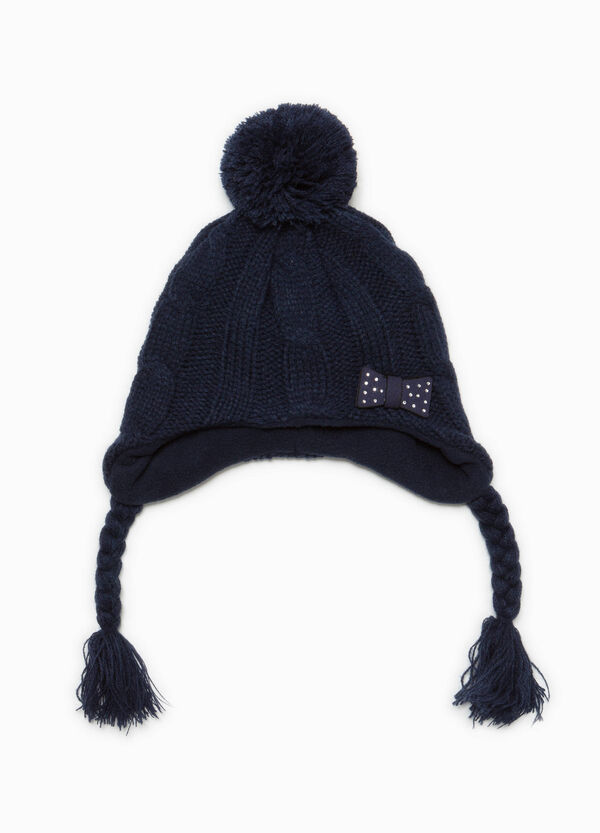 Knitted beanie cap with braids and pompom | OVS