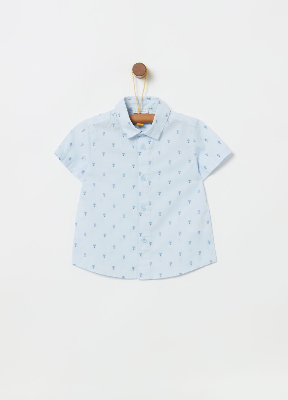 Patterned cotton shirt with short sleeves