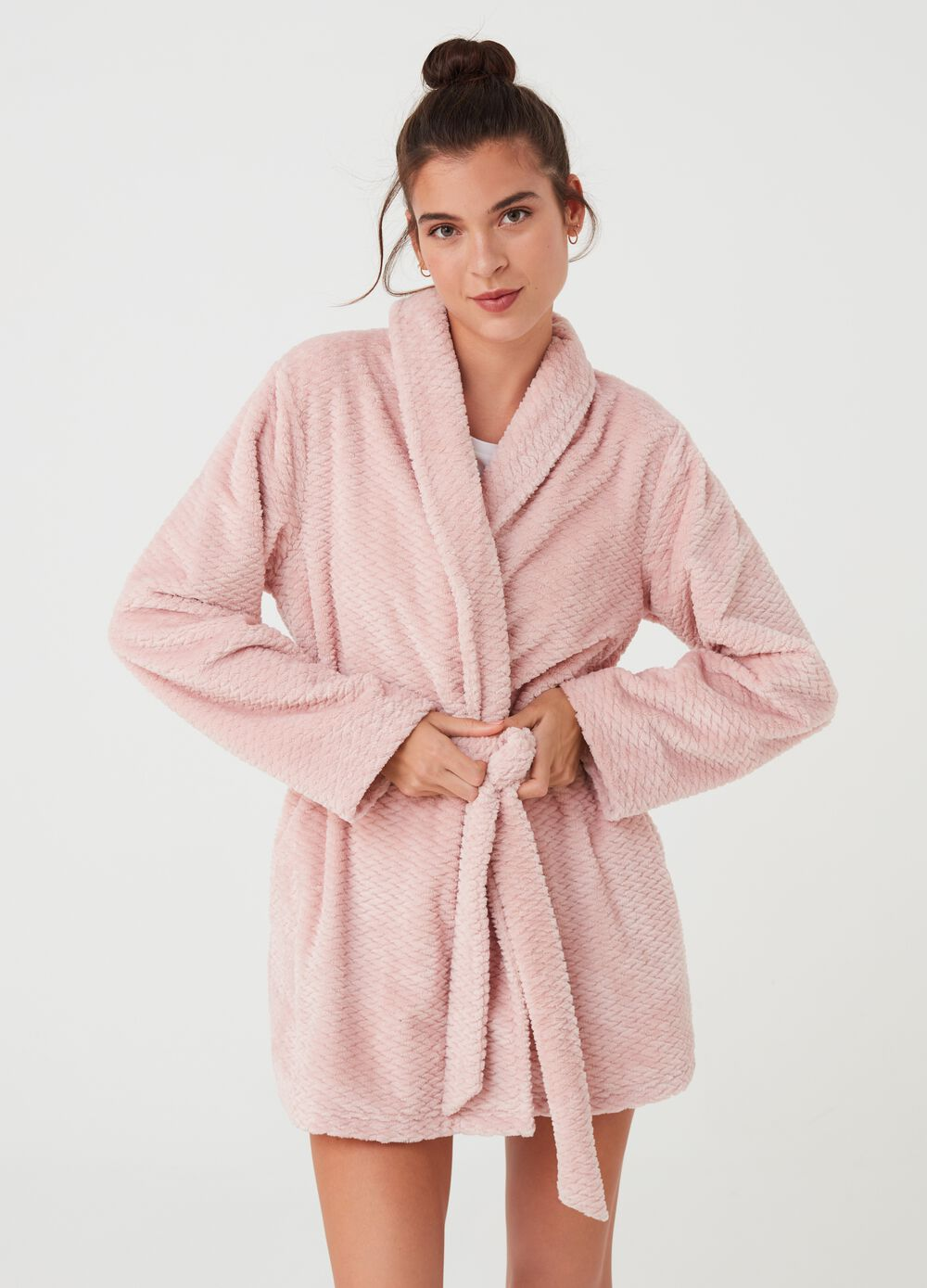 Chenille dressing gown with diamond weave