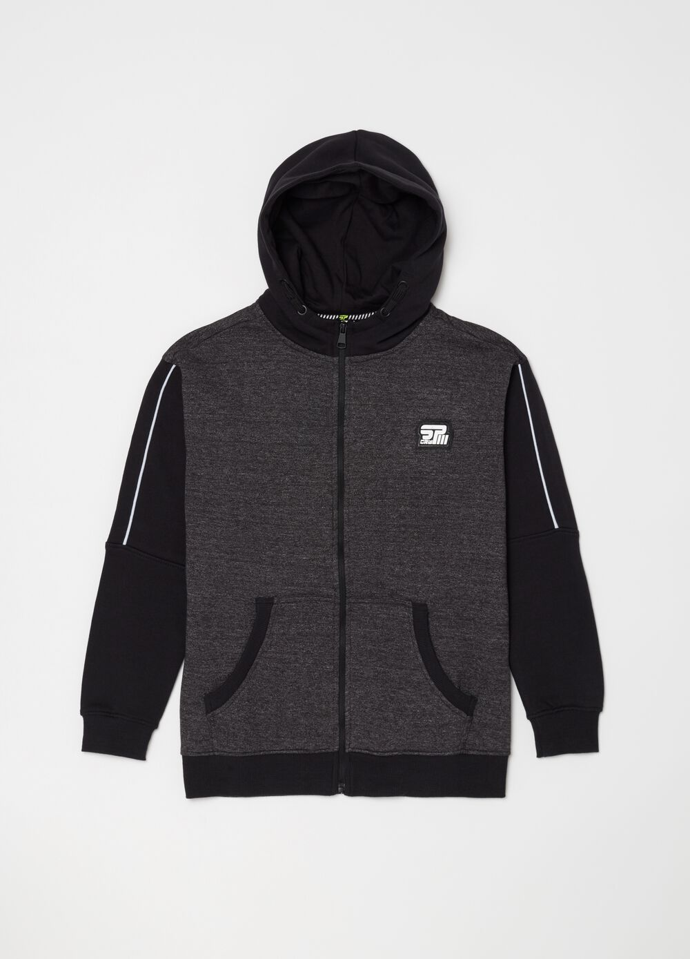 Two-tone sweatshirt with hood and zip
