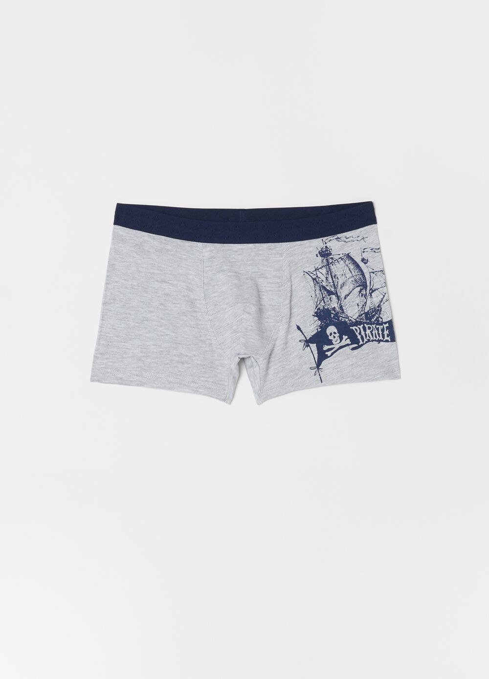 Stretch biocotton boxer shorts with print