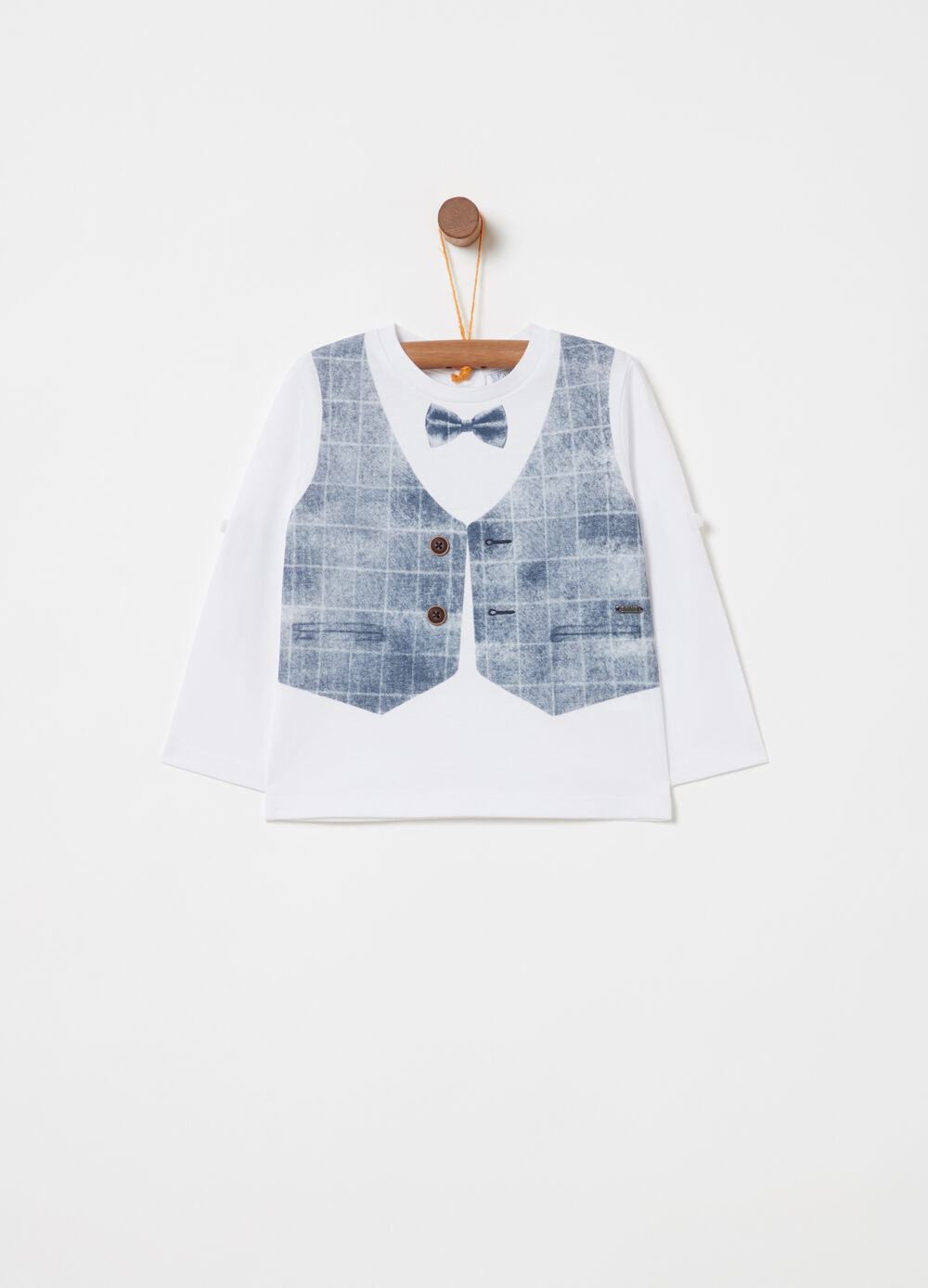 T-shirt with gilet print and long sleeves
