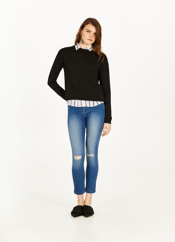 Skinny-fit crop jeans with rips