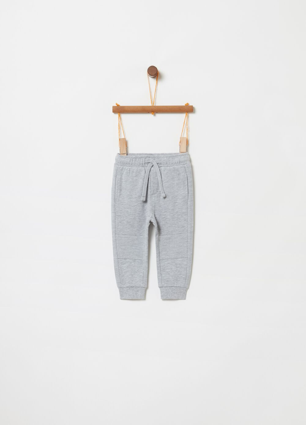 Fleece trousers with mélange drawstring