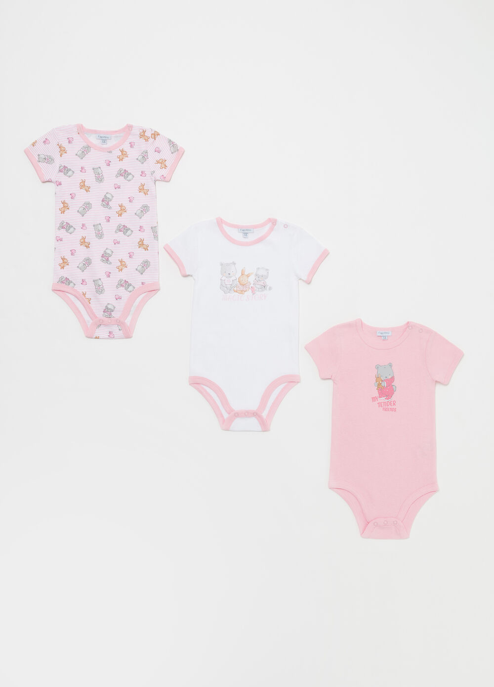 Three-pack animal bodysuits in 100% cotton