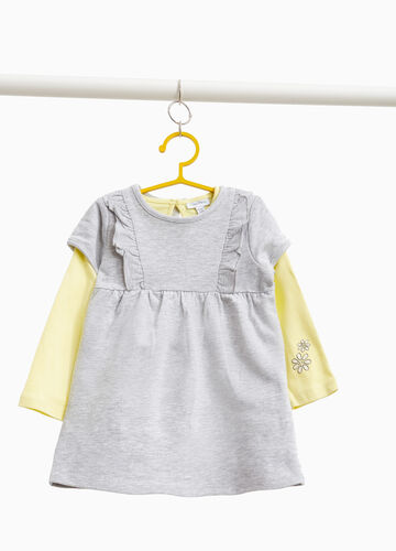 Mélange T-shirt and dress outfit