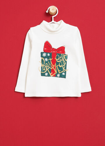 Printed cotton turtleneck jumper with glitter